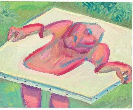 Maria Lassnig, Innerhalb und außerhalb der Leinwand IV, 1984/85, Öl auf Leinwand, 80 x 100 cm (Maria Lassnig Stiftung © Maria Lassnig Stiftung)