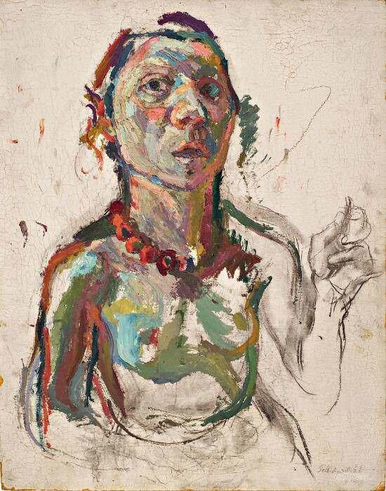 Maria Lassnig, Selbstporträt expressiv, 1945, Öl, Kohle auf Holzfaserplatte, 60 x 48 cm (Maria Lassnig Stiftung © Maria Lassnig Stiftung)