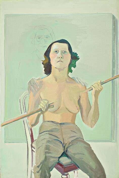 Maria Lassnig, Selbstporträt mit Stab, 1971, Öl und Kohle auf Leinwand, 193 x 129 cm (Maria Lassnig Stiftung, © Maria Lassnig Stiftung)