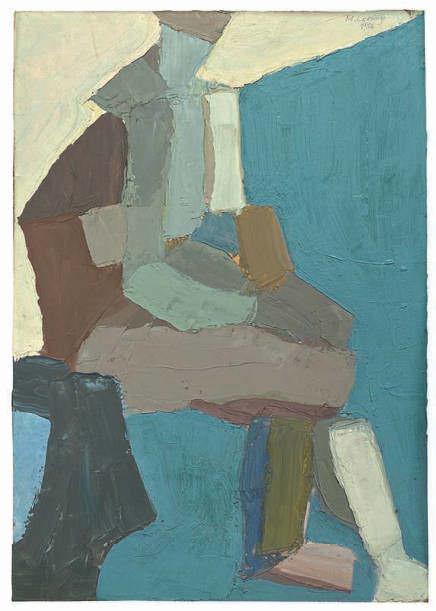 Maria Lassnig, Sitzender, 1956, Öl auf Holz, 50 x 34,5 cm (Maria Lassnig Stiftung © Maria Lassnig Stiftung)