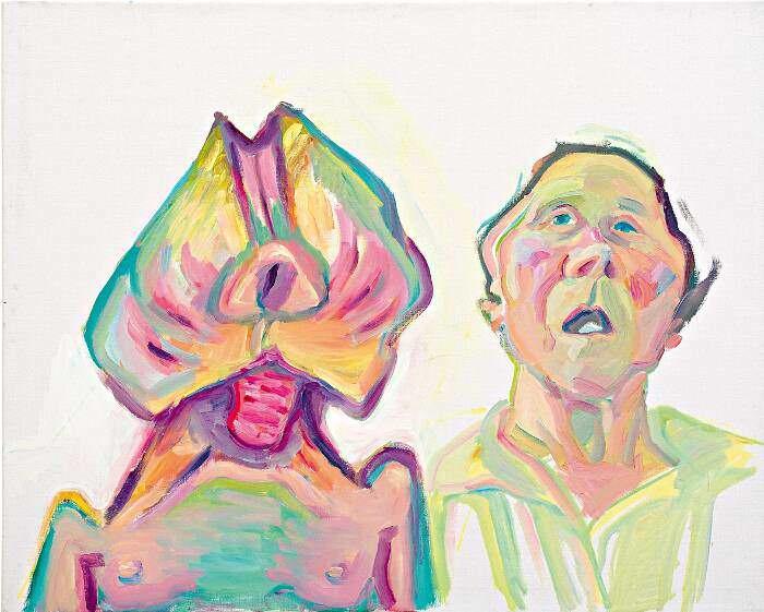 Maria Lassnig, Zwei Arten zu sein (Doppelselbstporträt), 2000, Öl auf Leinwand, 100 x 125 cm (Maria Lassnig Stiftung © Maria Lassnig Stiftung)