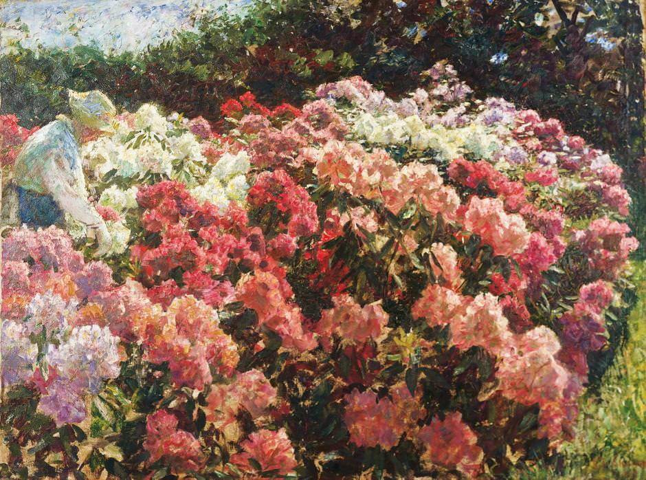 Laurits Tuxen, Rhododendron in Tuxens Garten, 1917, Öl auf Leinwand, 92,2 x 124 cm (Skagensmuseum, Skagen)