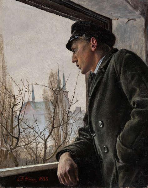 Lauritz Andersen Ring, Am Fenster. Ole Ring blickt auf Roskilde, 1925, Öl auf Leinwand, 36,5 x 28 cm (Ordrupgaard, Kopenhagen © Foto: Anders Sune Berg)
