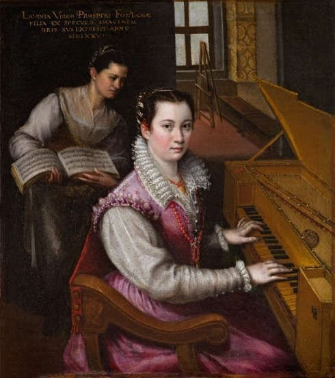 Lavinia Fontana, Selbstporträt am Spinet, 1577, Öl/Lw Rome (Accademia Nazionale di San Luca, Rom)