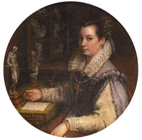 Lavinia Fontana, Selbstporträt im Atelier, 1579, Öl/Kupfer (Gallerie degli Uffizi, Galleria delle statue e delle pitture, Florenz)