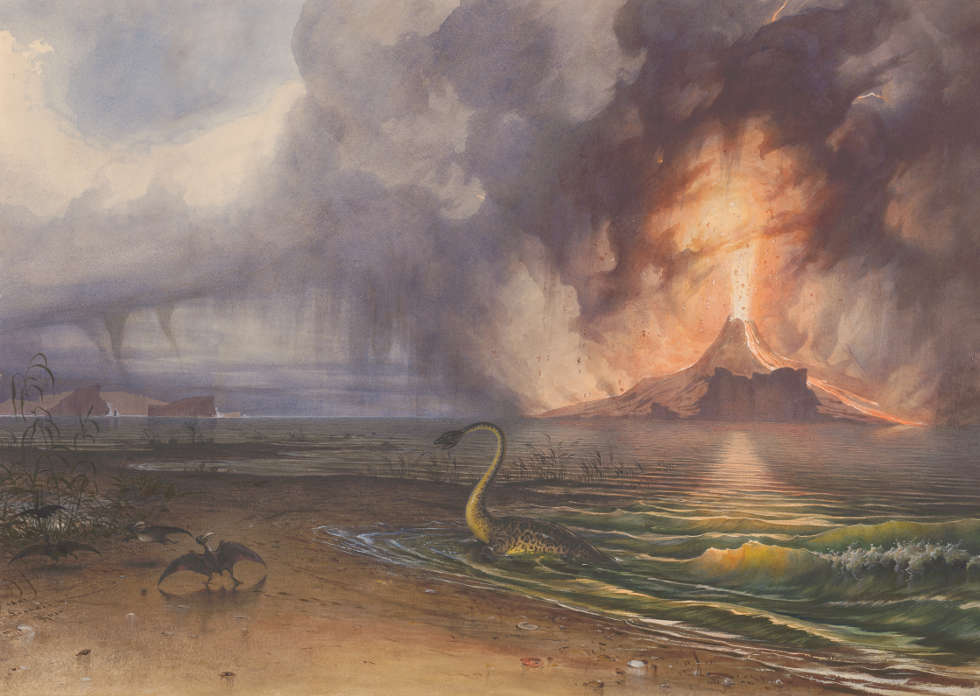 Leander Russ, Vorweltliche Landschaften, 3. Periode, Aquarell, 1842 (© Albertina, Wien)
