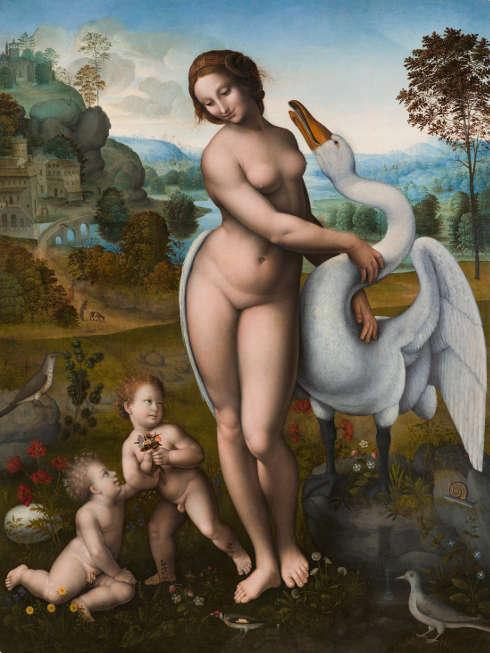 Leda (nach Leonardo da Vinci), 1510–1520, Tempera/Holz, 115 x 86 cm (Galleria Borghese, Rom)