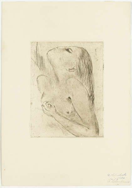 Wilhelm Lehmbruck, Frau sich erdolchend, 1918, Radierung, Papier (elfenbeinfarben), 39,8 x 27,7 cm (Staatsgalerie Stuttgart, Graphische Sammlung)