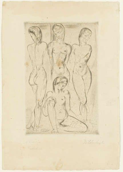 Wilhelm Lehmbruck, Vier Frauen (drei stehend, eine sitzend), 1913, Radierung (Staatsgalerie Stuttgart, Graphische Sammlung)
