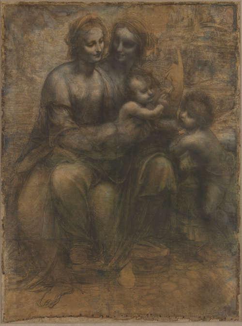 "Leonardo, Hl. Anna Selbdritt (""Burlington House-Karton""), Schwarze Kreide, weiß gehöht, auf Papier, 141,5 x 104 cm (London, National Gallery, Inv.-Nr. 6337)"