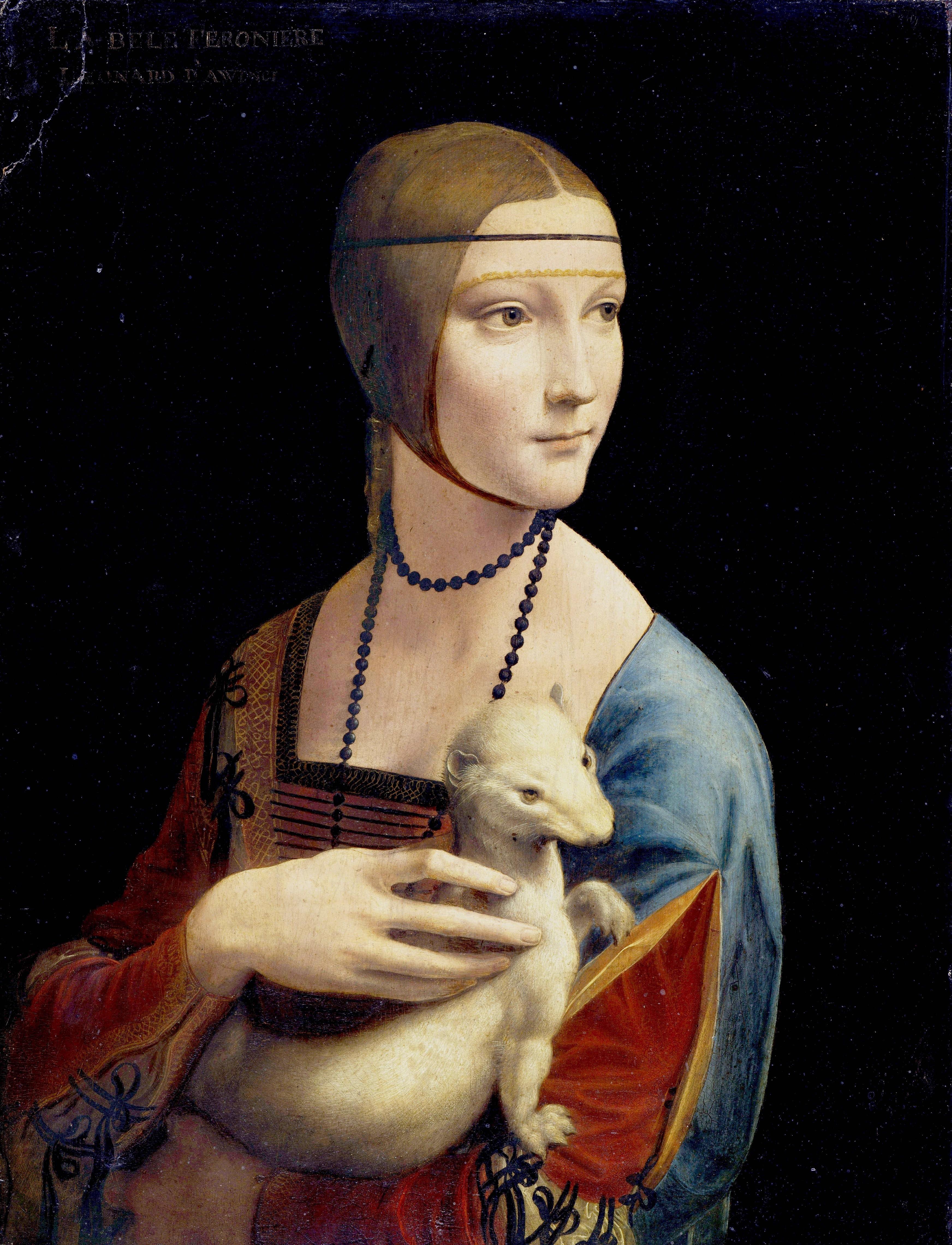 Leonardo da Vinci, Dame mit dem Hermelin, 1489/1490, Öl und Tempera auf Holz, 54,7 x 40,3 cm (Czartoryski-Museum, Krakau)