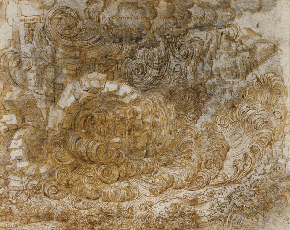 Leonardo da Vinci, Flut, um 1517/18, Feder und schwarze Tusche mit Lavierung, 16.2 x 20.3 cm (Blattmaß) (Royal Collection of the Queen, Inv.-Nr. RCIN 912380)