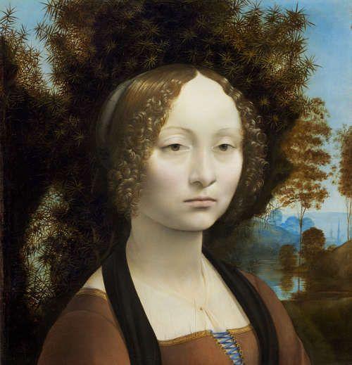 Leonardo, Bildnis der Ginevra de' Benci, 1474 oder 1475/76, Tempera und Öl auf Holz, 38,5 x 36,7 cm (Washington, National Gallery of Art, Inv.-Nr. 2326)