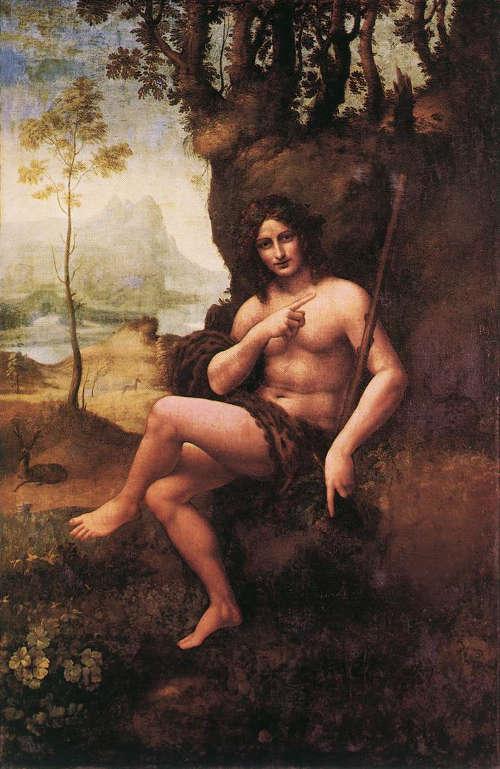 Leonardo, Johannes der Täufer (auch: Bacchus), um 1510–1515, Tempera und Öl auf Holz, auf Leinwand übertragen, 177 x 115 cm (Paris, Musée du Louvre, Inv.-Nr. 780 (1602))