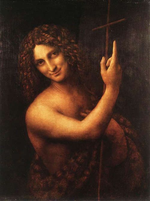 Leonardo, Johannes der Täufer, Öl auf Holz, 69 x 57 cm (Paris, Musée du Louvre, Inv.-Nr. 775 (1597))