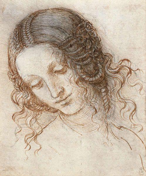 Leonardo da Vinci, Kopf der Leda, um 1504–1506, Feder und Tusche über schwarzer Kreide, 17.7 x 14.7 cm (Blattmaß) (Royal Collection of the Queen, Inv.-Nr. RCIN 912518)