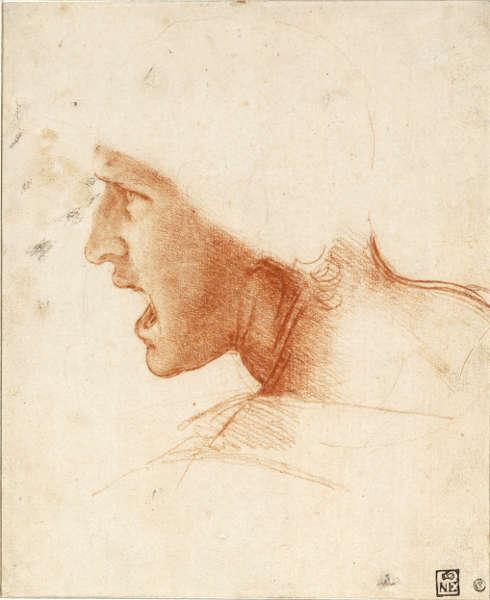 Leonardo da Vinci, Kopf eines Kriegers, 1504, Rötel, 19 x 21 cm (Szepmueveszeti Muzeum, Budapest)