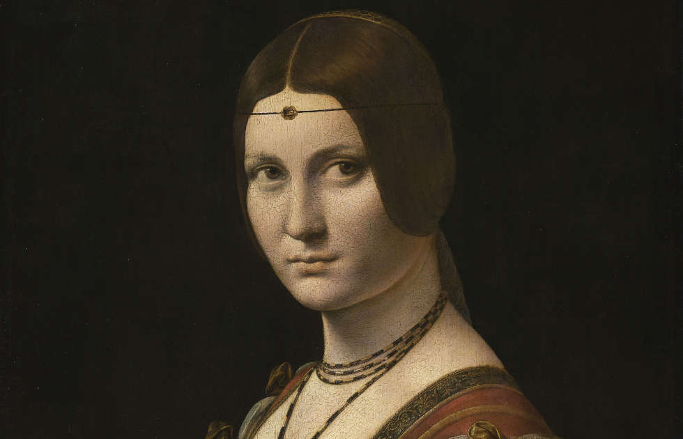 Leonardo, La belle Ferronnière, Detail, 1490–1495, Öl auf Holz, 62 x 44 cm (Paris, Musée du Louvre)