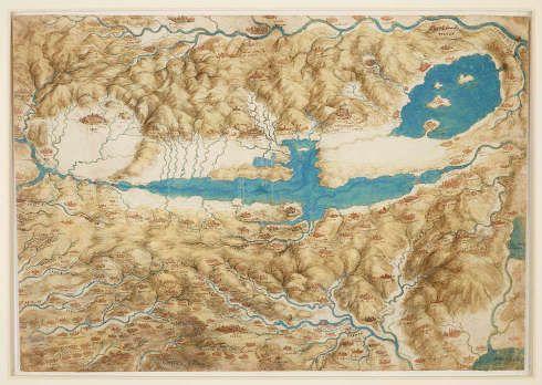 Leonardo da Vinci, Landkarte vom Val di Chiana, um 1503/4, Feder und Tusche, Aquarell und Gouache über schwarzer Kreide, 33.8 x 48.8 cm (Blattmaß) (Royal Collection of the Queen, Inv.-Nr. RCIN 912278)