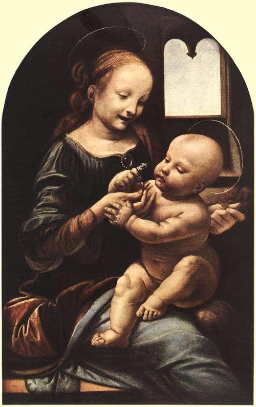 Leonardo, Madonna Benois (Madonna mit Kind), 1478(?)–1482, Öl auf Holz, auf Leinwand übertragen, 48 x 31 cm (Eremitage, Sankt Petersburg)