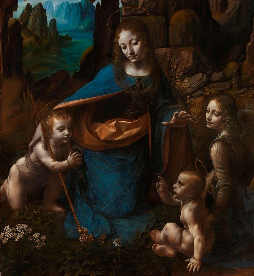 Leonardo, Madonna in der Felsengrotte, Detail (zweite Fassung), nach 1493–1508, Öl auf Holz, 189,5 x 120 cm (London, National Gallery)
