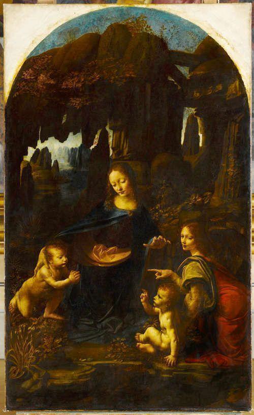 Leonardo, Madonna in der Felsgrotte (erste Fassung), 1483–1486, Öl auf Holz, 199 x 122 cm (Paris, Musée du Louvre)