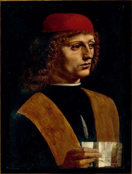 Leonardo, Porträt eines Musikers (Atalante Migliorotti?), um 1485, Öl auf Holz, 43 x 31 cm (Mailand, Pinacoteca Ambrosiana, Inv.-Nr. 99)
