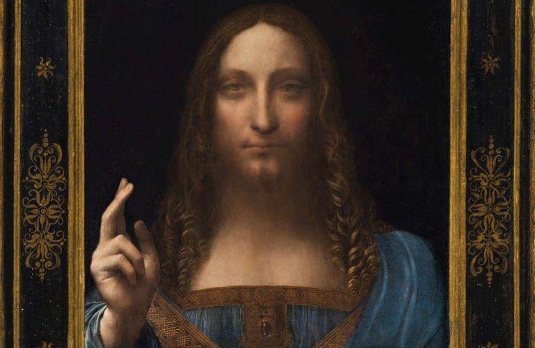 Leonardo da Vinci, Salvator Mundi (mit Rahmen), Detail, Öl/Walnuss, 65.7 x 45.7 cm, um 1500 (Privatsammlung, courtesy Sothenby's)
