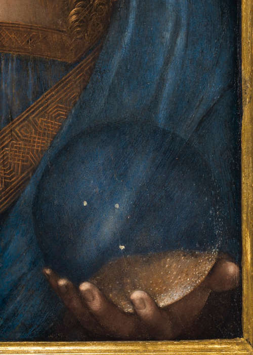 Leonardo da Vinci, Salvator Mundi, linke Hand mit Kristallkugel, Öl/Holz, 65.7 x 45.7 cm, um 1500 (Privatsammlung, courtesy Sothenby's)