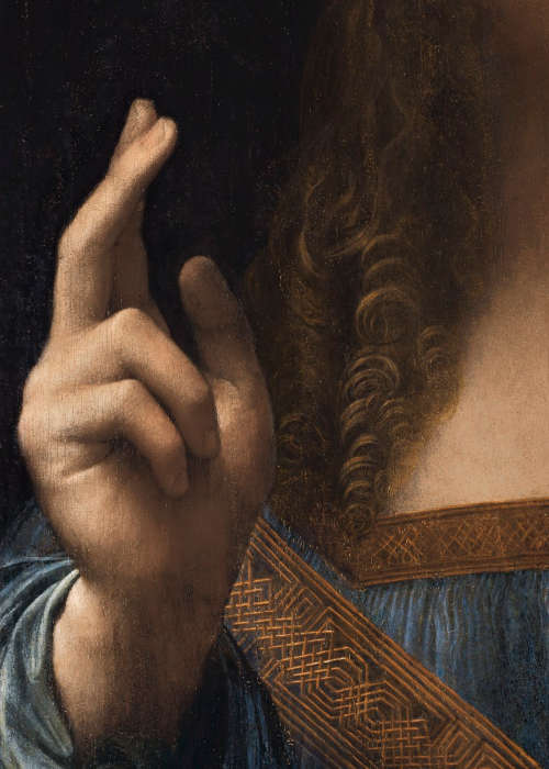 Leonardo da Vinci, Salvator Mundi, rechte Hand segenend, Öl/Holz, 65.7 x 45.7 cm, um 1500 (Privatsammlung, courtesy Sothenby's)