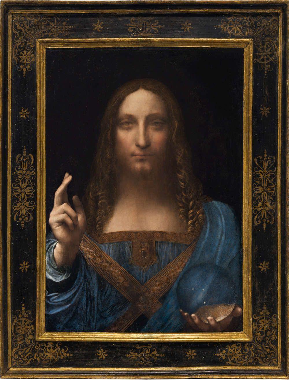 Leonardo da Vinci, Salvator Mundi (mit Rahmen), Öl/Walnuss, 65.7 x 45.7 cm, um 1500 (Privatsammlung, courtesy Sothenby's)