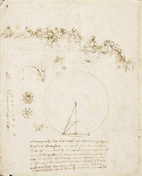 Leonardo da Vinci, Studie für das Abendmahl und geometrische Formen und Berechnungen, um 1494/95, Feder und braune Tinte auf Papier, 26 x 21 cm (The Royal Collection / HM Queen Elizabeth II, Royal Library, Windsor Castle)