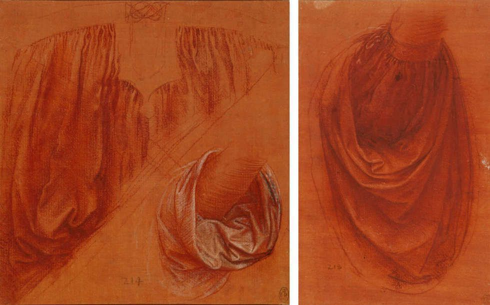 Leonardo da Vinci, Zwei Studienblätter für Draperien für einen Salvator Mundi, um 1504–1508, Rötel mit Kreide und Feder auf blassrotem Papier (Royal Collection of Queen Elizabeth II., Windsor, Inv.-Nr. RCIN 912524 & Inv.-Nr. RCIN 912525)