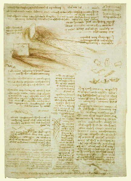 Leonardo da Vinci, Studien von fließendem Wasser, mit Notizen (verso), um 1510–1513, Feder und Tusche über Spuren von schwarzer Kreide, 29.6 x 20.7 cm (Blattmaß) (Royal Collection of the Queen, Inv.-Nr. RCIN 912660)
