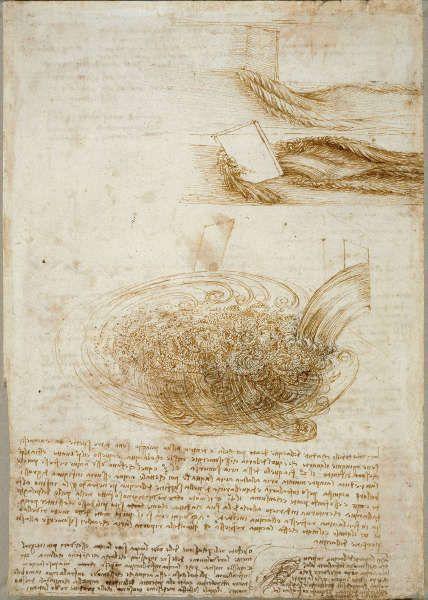 Leonardo da Vinci, Studien von fließendem Wasser, mit Notizen (recto), um 1510–1513, Feder und Tusche über roter Kreide, 29.6 x 20.7 cm (Blattmaß) (Royal Collection of the Queen, Inv.-Nr. RCIN 912660)