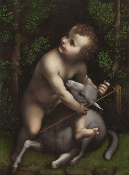 Lombardisch (Leonardo-Werkstatt?), Christuskind umarmt ein Lamm, 1520–1530, Öl/Holz, 72 x 56 cm (Fundación Casa de Alba, Madrid)