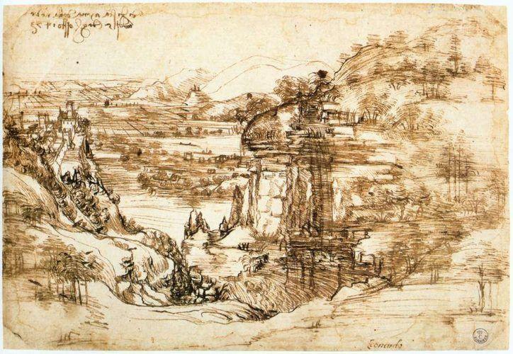 """Leonardo, Landschaft von Arno und Flusstal, datiert 5. August 1473, Beschriftung: """"di dì s[an]ta maria della neve / addj 5 daghossto 1473"""" [Am Tag von Santa Maria della Neve / am 5. August 1473], Feder und zwei Farben brauner Tinte, 19,5 x 28,6 cm (Gabinetto Disegni e Stampe, Gallerie degli Uffizi, Florenz, 8 P recto)"""