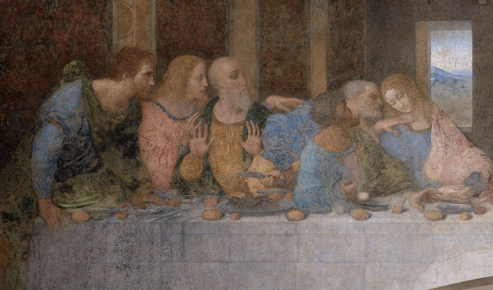 Leonardo da Vinci, Das Abendmahl: Bartholomäus, Jakobus, Andreas, Simon Petrus, Judas, Johannes, um 1494–1498, Tempera und Öl auf Mörtel, 460 x 880 cm (Refektorium von Santa Maria delle Grazie, Mailand)