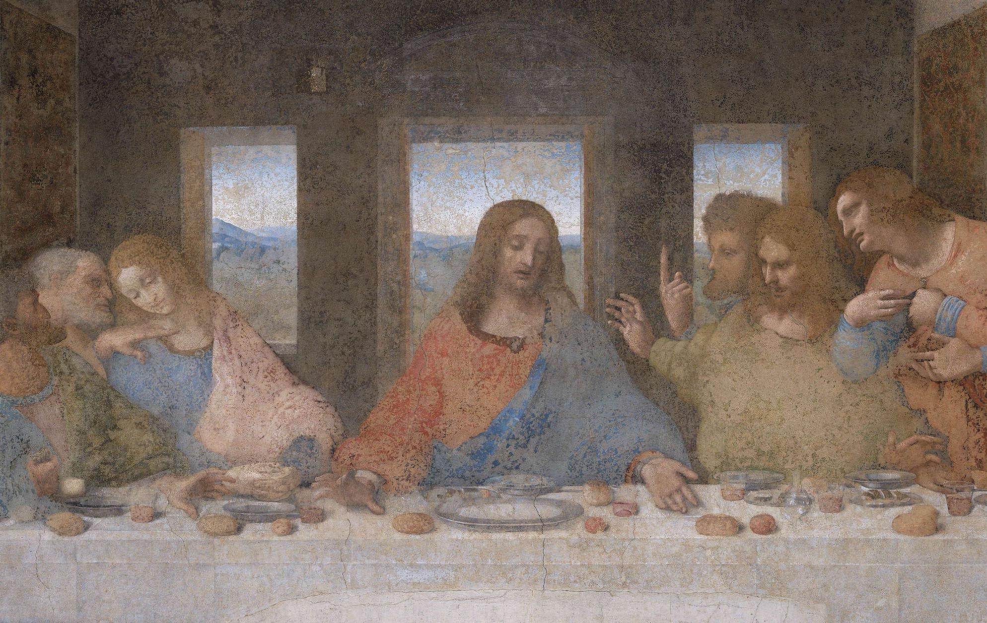 Leonardo da Vinci, Das Abendmahl: Christus, um 1494–1498, Tempera und Öl auf Mörtel, 460 x 880 cm (Refektorium von Santa Maria delle Grazie, Mailand)