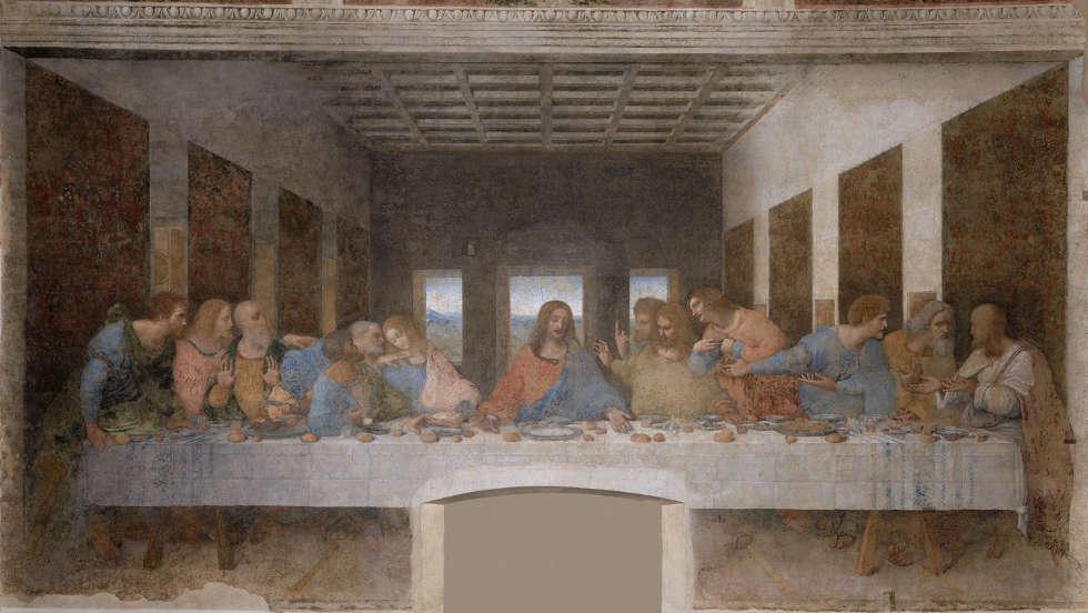 Leonardo da Vinci, Das Abendmahl, um 1494–1498, Tempera und Öl auf Mörtel, 460 x 880 cm (Refektorium von Santa Maria delle Grazie, Mailand)