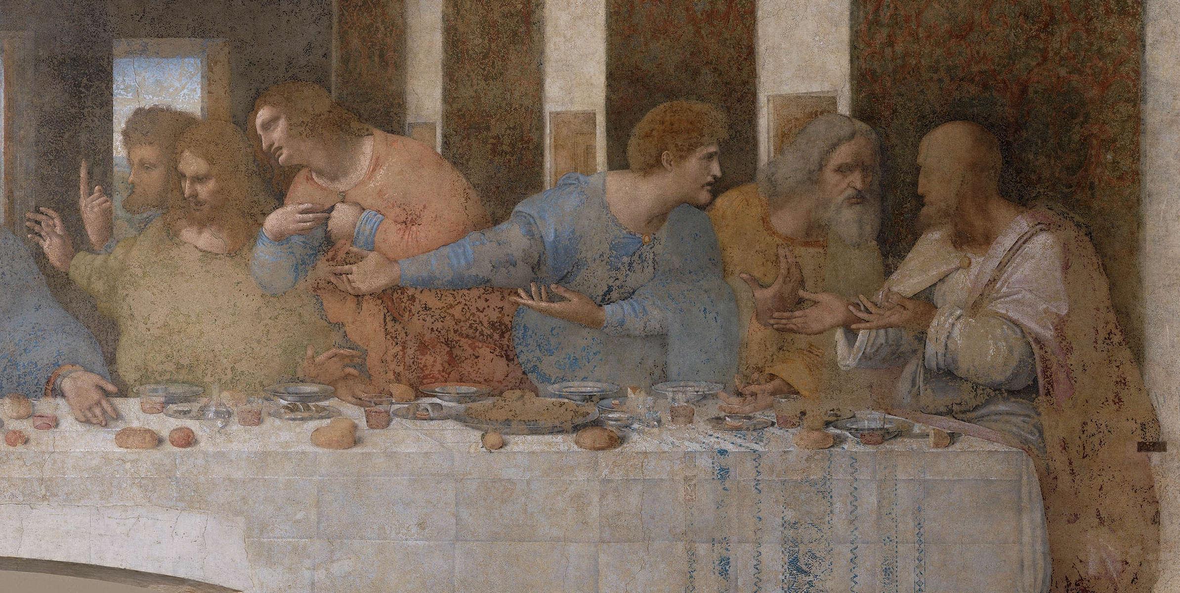 Leonardo da Vinci, Das Abendmahl: Thomas, Jakobus, Philippus, Matthäus, Thaddäus, Simon, um 1494–1498, Tempera und Öl auf Mörtel, 460 x 880 cm (Refektorium von Santa Maria delle Grazie, Mailand)