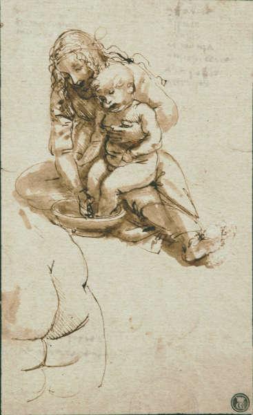 Leonardo da Vinci, Junge Frau wäscht die Füße eines Kindes, um 1478–1480, Feder und Pinsel in brauner Tinte über Spuren von schwarzer Kreide (Faculdade de Belas Artes, Universidade do Porto, Porto)