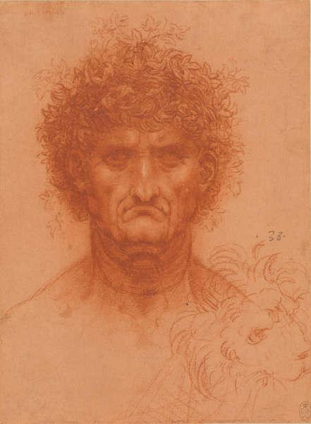 Leonardo da Vinci, Kopf eines Mannes, ganzes Gesicht und Löwenkopf, um 1508/09, rote Kreide, gehöht mit Weiß auf Papier mit roter Vorbereitung (Royal Collection Trust / © Her Majesty Queen Elizabeth II)