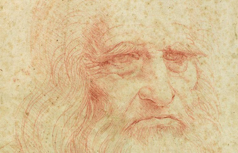 Leonardo da Vinci, Kopf eines alten Mannes, Selbstporträt (?), Detail, 1515/16, rote Kreide (Biblioteca Reale, Turin)