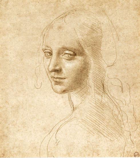 Leonardo da Vinci, Kopf und Schultern eines Mädchens, Drei-Viertel-Porträt nach links, um 1490, Silberstift, mit Weiß gehöht auf blass ocker gefärbtem Papier (Biblioteca Reale, Turin)