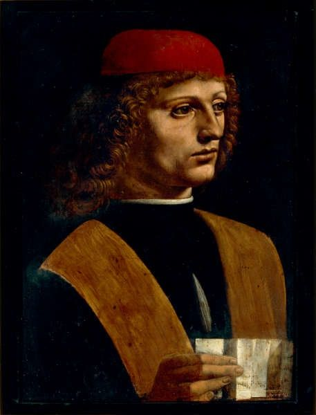 Leonardo da Vinci, Portrait eines jungen Mannes mit einer Partitur, genannt Der Musiker (Veneranda Biblioteca Ambrosiana, Mailand)