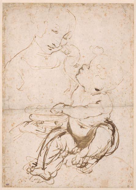Leonardo da Vinci, Studie der Madonna mit Kind, genannt die Madonna mit den Früchten (RMN-Grand Palais, Musée du Louvre, Foto Michel Urtado)