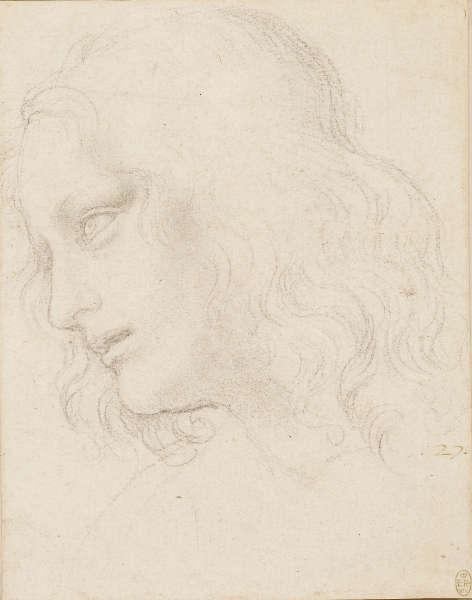 Leonardo da Vinci, Studie für den Kopf des hl. Philipp, um 1494, schwarze Kreide, (Royal Collection Trust / © Her Majesty Queen Elizabeth II)