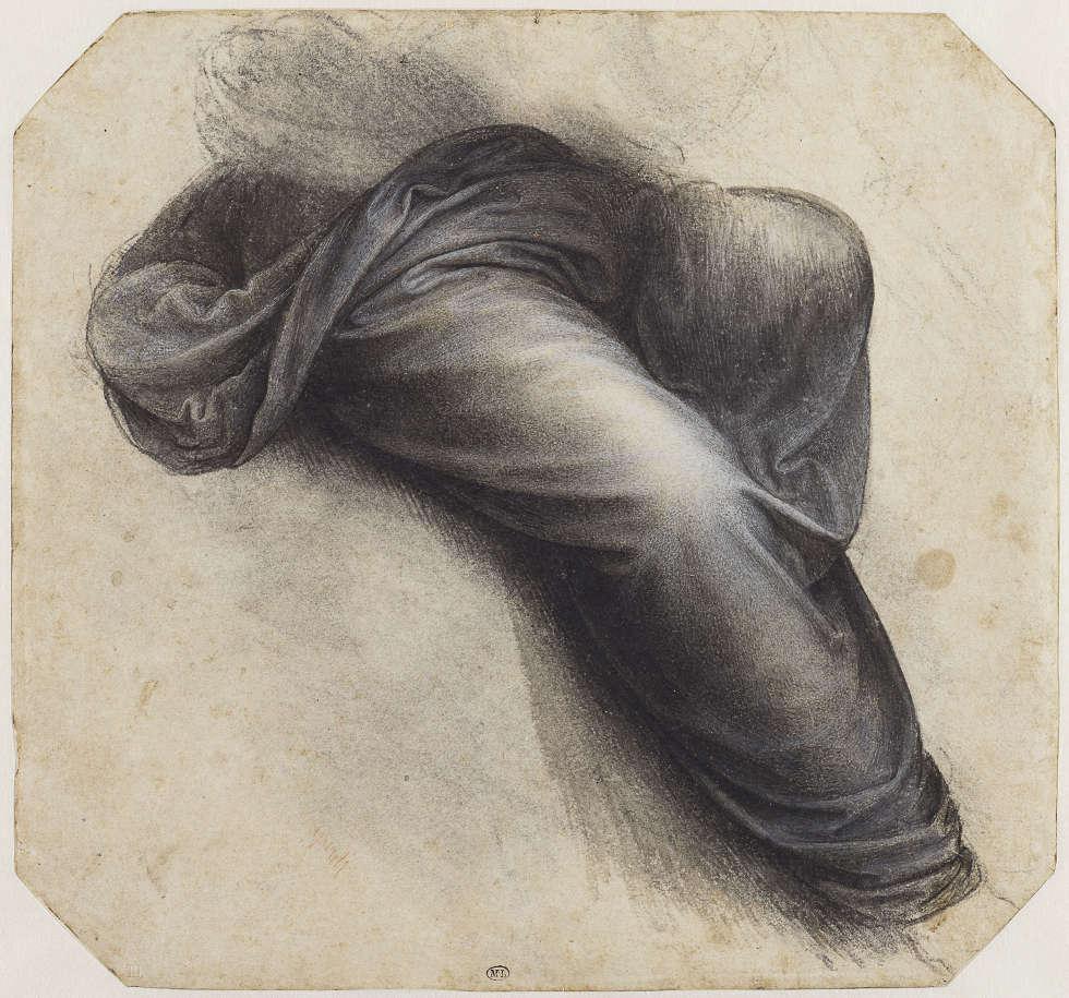 Leonardo da Vinci, Studie für die hl. Anna Selbdritt, Bein der Maria (RMN-Grand Palais, Musée du Louvre, Foto Michel Urtado)