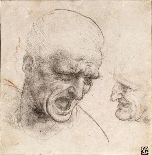 Leonardo da Vinci, Studien von Köpfen von zwei Kriegern, um 1504/05, Kohle oder schwarze Kreide, Spuren von roter Kreide (Szépművészeti Múzeum, Budapest)